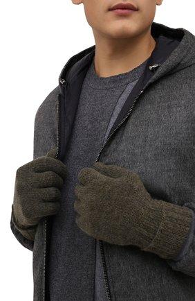 Мужские кашемировые перчатки INVERNI хаки цвета, арт. 5047 GU   Фото 2 (Материал: Шерсть, Кашемир; Кросс-КТ: Трикотаж)