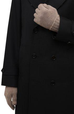 Мужские кашемировые перчатки INVERNI темно-бежевого цвета, арт. 5047 GU   Фото 2 (Материал: Кашемир, Шерсть; Кросс-КТ: Трикотаж)