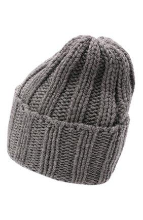 Мужская кашемировая шапка INVERNI светло-серого цвета, арт. 1128 CM   Фото 2 (Материал: Кашемир, Шерсть; Кросс-КТ: Трикотаж)