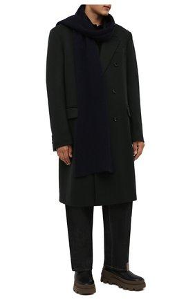 Мужской кашемировый шарф DANIELE FIESOLI темно-синего цвета, арт. WS 7000 | Фото 2 (Материал: Шерсть, Кашемир; Кросс-КТ: кашемир)