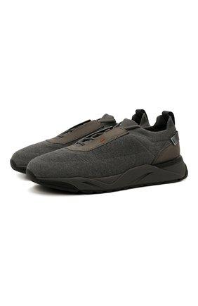 Мужские текстильные кроссовки SANTONI темно-серого цвета, арт. MBI021601ANENH0DG62 | Фото 1 (Материал внешний: Текстиль; Материал внутренний: Натуральная кожа, Текстиль; Подошва: Массивная; Стили: Спорт)