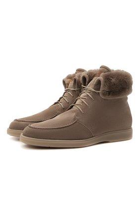 Мужские замшевые ботинки SANTONI серого цвета, арт. MGDG17891TAAASVUM45 | Фото 1 (Материал утеплителя: Натуральный мех; Подошва: Плоская; Материал внутренний: Натуральная кожа; Мужское Кросс-КТ: Ботинки-обувь, зимние ботинки; Материал внешний: Замша)
