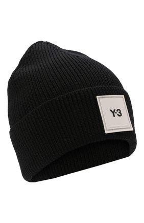 Мужская шерстяная шапка Y-3 черного цвета, арт. H54025/M | Фото 1 (Материал: Шерсть; Кросс-КТ: Трикотаж)
