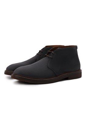 Мужские замшевые ботинки BRUNELLO CUCINELLI темно-синего цвета, арт. MZUPLHE817 | Фото 1 (Материал внутренний: Натуральная кожа; Подошва: Плоская; Мужское Кросс-КТ: Ботинки-обувь, Дезерты-обувь; Материал внешний: Замша)