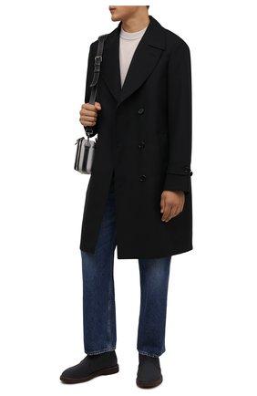 Мужские замшевые ботинки BRUNELLO CUCINELLI темно-синего цвета, арт. MZUPLHE817 | Фото 2 (Материал внутренний: Натуральная кожа; Подошва: Плоская; Мужское Кросс-КТ: Ботинки-обувь, Дезерты-обувь; Материал внешний: Замша)