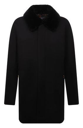Мужской кашемировое пальто с меховой отделкой ZILLI черного цвета, арт. MAW-TIMBU-03001/0003 | Фото 1 (Материал подклада: Шелк; Длина (верхняя одежда): До середины бедра; Рукава: Длинные; Материал внешний: Шерсть, Кашемир; Мужское Кросс-КТ: пальто-верхняя одежда; Стили: Классический; Big sizes: Big Sizes)