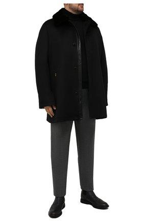 Мужской кашемировое пальто с меховой отделкой ZILLI черного цвета, арт. MAW-TIMBU-03001/0003 | Фото 2 (Материал подклада: Шелк; Длина (верхняя одежда): До середины бедра; Рукава: Длинные; Материал внешний: Шерсть, Кашемир; Мужское Кросс-КТ: пальто-верхняя одежда; Стили: Классический; Big sizes: Big Sizes)