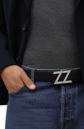 Мужской кожаный ремень ZILLI черного цвета, арт. MJL-CLAQD-01805/0287 | Фото 2 (Случай: Повседневный)