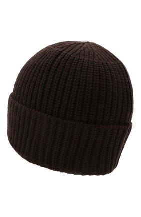 Мужская шерстяная шапка STONE ISLAND темно-коричневого цвета, арт. 7515N10B5 | Фото 2 (Материал: Шерсть; Кросс-КТ: Трикотаж)