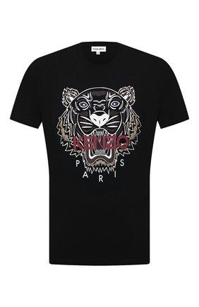 Мужская хлопковая футболка KENZO черного цвета, арт. FB65TS0204YA | Фото 1 (Материал внешний: Хлопок; Длина (для топов): Стандартные; Рукава: Короткие; Принт: С принтом; Стили: Кэжуэл)