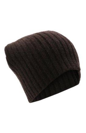 Мужская кашемировая шапка ALLUDE темно-коричневого цвета, арт. 215/60630 | Фото 1 (Материал: Шерсть, Кашемир; Кросс-КТ: Трикотаж)
