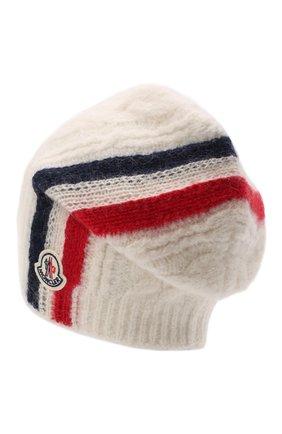 Мужская шерстяная шапка MONCLER белого цвета, арт. G2-091-3B000-03-M1211 | Фото 2 (Материал: Шерсть; Кросс-КТ: Трикотаж)