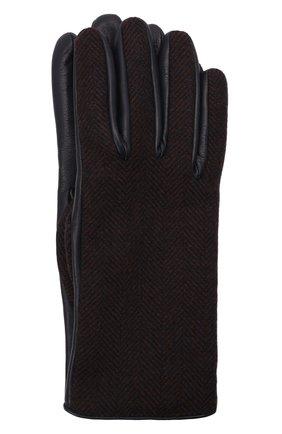 Мужские комбинированные перчатки LORO PIANA коричневого цвета, арт. FAL9541 | Фото 1 (Мужское Кросс-КТ: Кожа и замша)