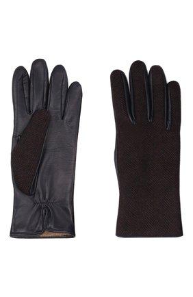 Мужские комбинированные перчатки LORO PIANA коричневого цвета, арт. FAL9541 | Фото 2 (Мужское Кросс-КТ: Кожа и замша)