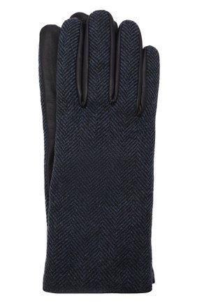 Мужские комбинированные перчатки LORO PIANA темно-синего цвета, арт. FAL9541 | Фото 1 (Мужское Кросс-КТ: Кожа и замша)