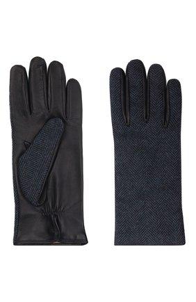 Мужские комбинированные перчатки LORO PIANA темно-синего цвета, арт. FAL9541 | Фото 2 (Мужское Кросс-КТ: Кожа и замша)