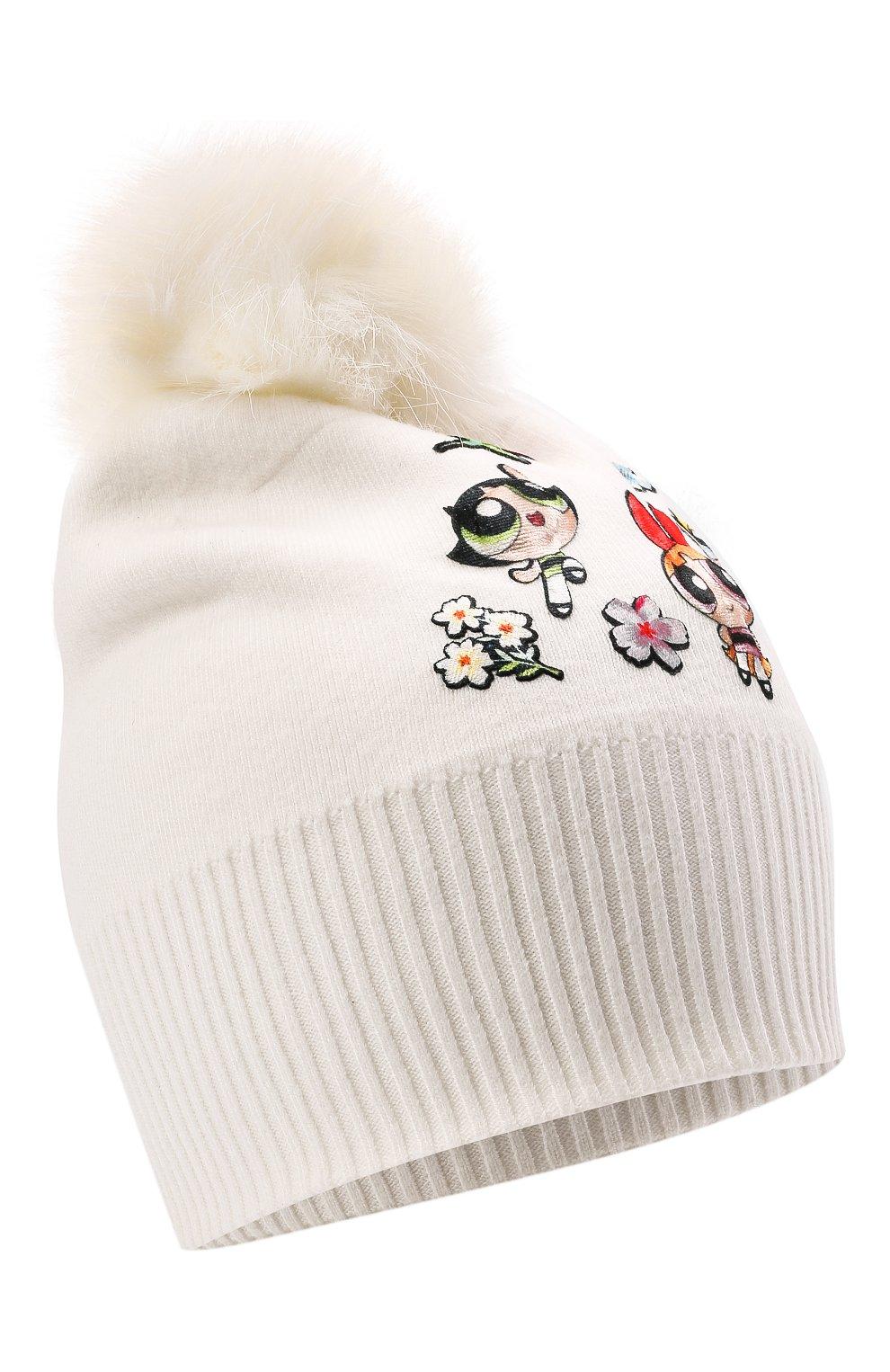 Детского шапка из вискозы MONNALISA белого цвета, арт. 198013 | Фото 1 (Материал: Текстиль, Вискоза)