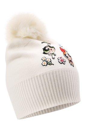 Детского шапка из вискозы MONNALISA белого цвета, арт. 198013 | Фото 1 (Материал: Вискоза, Текстиль)