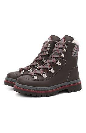 Детские ботинки BRUNELLO CUCINELLI темно-коричневого цвета, арт. BFYRMZH125   Фото 1 (Материал утеплителя: Натуральный мех)