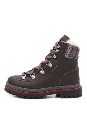 Детские ботинки BRUNELLO CUCINELLI темно-коричневого цвета, арт. BFYRMZH125   Фото 2 (Материал утеплителя: Натуральный мех)