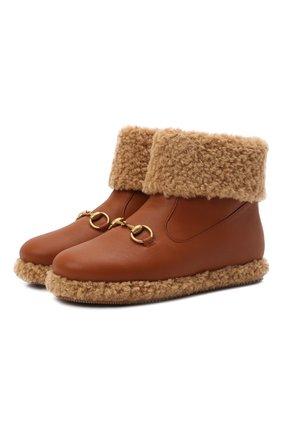 Детские кожаные ботинки GUCCI коричневого цвета, арт. 662197/17T60   Фото 1 (Материал внутренний: Текстиль)