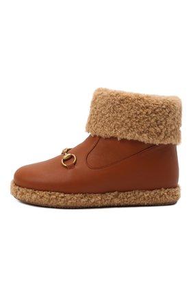 Детские кожаные ботинки GUCCI коричневого цвета, арт. 662197/17T60   Фото 2 (Материал внутренний: Текстиль)