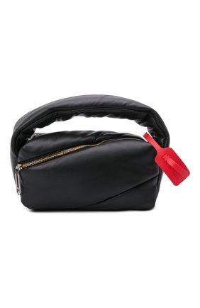 Женская сумка pump pouch OFF-WHITE черного цвета, арт. 0WNP007F21LEA001 | Фото 1 (Размер: small; Материал: Натуральная кожа; Ремень/цепочка: На ремешке; Сумки-технические: Сумки top-handle)