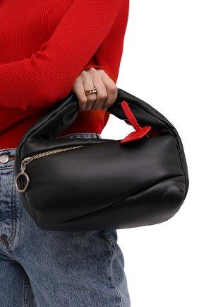 Женская сумка pump pouch OFF-WHITE черного цвета, арт. 0WNP007F21LEA001   Фото 2 (Размер: small; Материал: Натуральная кожа; Ремень/цепочка: На ремешке; Сумки-технические: Сумки top-handle)