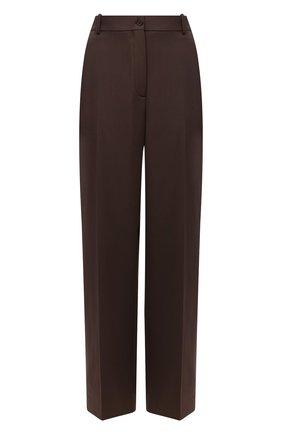 Женские шерстяные брюки THE ROW коричневого цвета, арт. 5914W2119   Фото 1 (Длина (брюки, джинсы): Стандартные; Материал внешний: Шерсть; Стили: Минимализм; Силуэт Ж (брюки и джинсы): Прямые)
