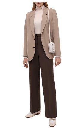 Женские шерстяные брюки THE ROW коричневого цвета, арт. 5914W2119   Фото 2 (Длина (брюки, джинсы): Стандартные; Материал внешний: Шерсть; Стили: Минимализм; Силуэт Ж (брюки и джинсы): Прямые)
