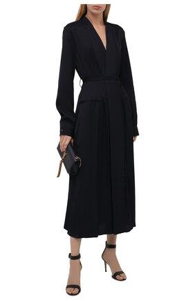 Женское платье из вискозы JIL SANDER темно-синего цвета, арт. JSWT506706-WT381500 | Фото 2 (Длина Ж (юбки, платья, шорты): Миди; Рукава: Длинные; Материал внешний: Вискоза; Стили: Гламурный; Случай: Формальный; Женское Кросс-КТ: Платье-одежда)