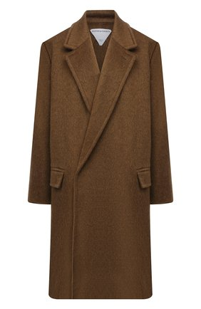 Женское пальто BOTTEGA VENETA хаки цвета, арт. 663384/V0XS0   Фото 1 (Материал внешний: Шерсть; Длина (верхняя одежда): До колена; Рукава: Длинные; Стили: Гламурный; 1-2-бортные: Двубортные)