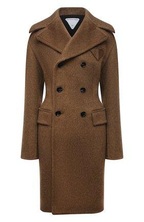Женское двубортное пальто BOTTEGA VENETA коричневого цвета, арт. 663721/V0XS0   Фото 1 (Материал внешний: Шерсть; Материал подклада: Вискоза; Длина (верхняя одежда): До колена; Рукава: Длинные; Стили: Гламурный; 1-2-бортные: Двубортные)