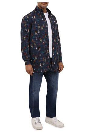 Мужская хлопковая рубашка PAUL&SHARK темно-синего цвета, арт. 11313164/C00 | Фото 2 (Длина (для топов): Удлиненные; Рукава: Длинные; Материал внешний: Хлопок; Манжеты: На пуговицах; Воротник: Button down; Принт: С принтом; Случай: Повседневный; Рубашки М: Regular Fit; Стили: Кэжуэл; Big sizes: Big Sizes)