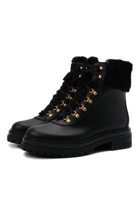 Женские кожаные ботинки GIANVITO ROSSI черного цвета, арт. G73498.20G0M.CLYNENE | Фото 1 (Материал утеплителя: Натуральный мех; Каблук высота: Низкий; Подошва: Платформа; Материал внутренний: Натуральная кожа; Женское Кросс-КТ: Зимние ботинки)