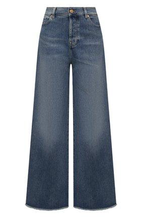 Женские джинсы 7 FOR ALL MANKIND синего цвета, арт. JSZ0B75TMW   Фото 1 (Материал внешний: Хлопок; Стили: Кэжуэл; Кросс-КТ: Деним; Силуэт Ж (брюки и джинсы): Расклешенные; Длина (брюки, джинсы): Стандартные)