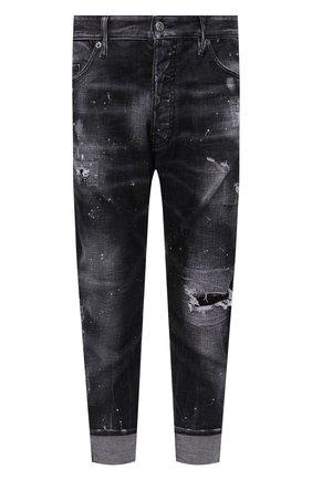 Мужские джинсы DSQUARED2 темно-серого цвета, арт. S71LB0972/S30357 | Фото 1 (Материал внешний: Хлопок; Длина (брюки, джинсы): Укороченные; Кросс-КТ: Деним; Силуэт М (брюки): Прямые; Детали: Потертости; Стили: Гранж)