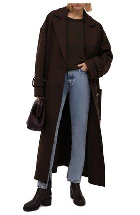 Женские кожаные сапоги GIANVITO ROSSI темно-коричневого цвета, арт. G73274.45G0M.SHLM0KA   Фото 2 (Каблук высота: Средний; Подошва: Платформа; Материал утеплителя: Натуральный мех; Каблук тип: Устойчивый; Высота голенища: Низкие)