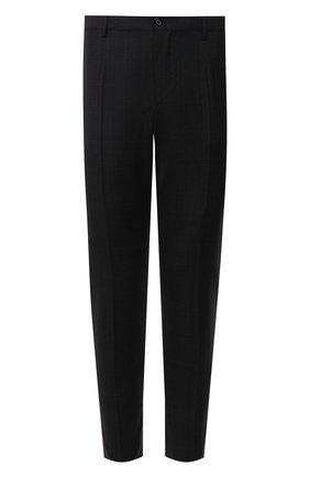 Мужские шерстяные брюки DOLCE & GABBANA темно-серого цвета, арт. GY6FET/FQ2KF   Фото 1 (Длина (брюки, джинсы): Стандартные; Материал подклада: Вискоза; Материал внешний: Шерсть; Случай: Формальный; Стили: Классический)