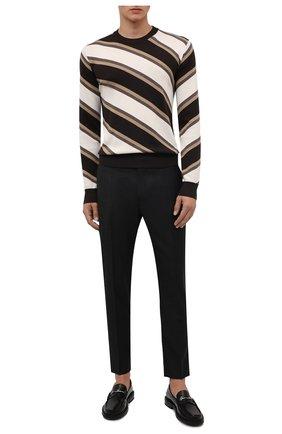 Мужские шерстяные брюки DOLCE & GABBANA темно-серого цвета, арт. GY6FET/FQ2KF   Фото 2 (Длина (брюки, джинсы): Стандартные; Материал подклада: Вискоза; Материал внешний: Шерсть; Случай: Формальный; Стили: Классический)