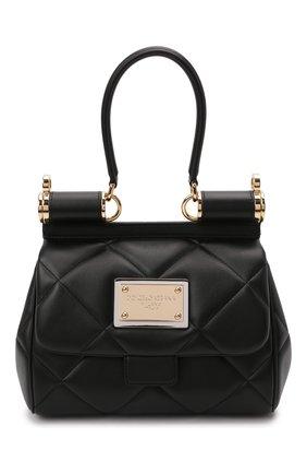 Женская сумка sicily medium DOLCE & GABBANA черного цвета, арт. BB7018/AW591   Фото 1 (Материал: Натуральная кожа; Ремень/цепочка: На ремешке; Размер: medium; Сумки-технические: Сумки top-handle)