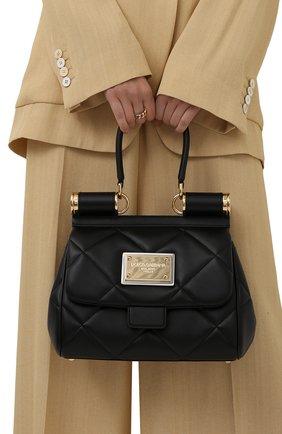 Женская сумка sicily medium DOLCE & GABBANA черного цвета, арт. BB7018/AW591   Фото 2 (Материал: Натуральная кожа; Ремень/цепочка: На ремешке; Размер: medium; Сумки-технические: Сумки top-handle)