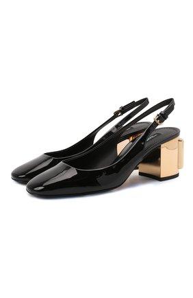 Женские кожаные туфли alexa DOLCE & GABBANA черного цвета, арт. CG0505/AQ130 | Фото 1 (Каблук высота: Средний; Подошва: Плоская; Материал внутренний: Натуральная кожа; Каблук тип: Устойчивый)