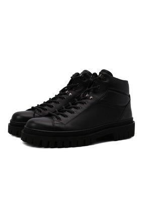 Мужские кожаные ботинки BARRETT черного цвета, арт. ASPEN-11481.7/C0RAL | Фото 1 (Подошва: Массивная; Материал утеплителя: Натуральный мех; Мужское Кросс-КТ: Ботинки-обувь, Хайкеры-обувь, зимние ботинки)