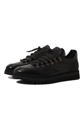 Мужские кожаные кроссовки BARRETT черного цвета, арт. MEGEVE-10970.11/C0RAL | Фото 1 (Материал утеплителя: Натуральный мех; Подошва: Массивная; Стили: Классический)