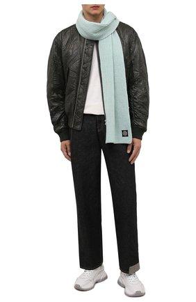 Мужской шерстяной шарф STONE ISLAND мятного цвета, арт. 7515N15B5 | Фото 2 (Материал: Шерсть; Кросс-КТ: шерсть)