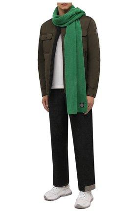 Мужской шерстяной шарф STONE ISLAND зеленого цвета, арт. 7515N15B5 | Фото 2 (Материал: Шерсть; Кросс-КТ: шерсть)