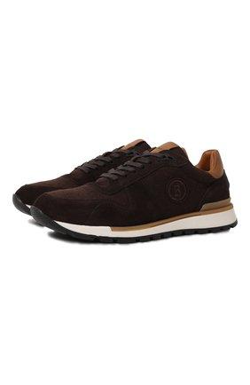 Мужские комбинированные кроссовки BOGNER темно-коричневого цвета, арт. 12140401/NEW LIVIGN0 2 | Фото 1 (Материал внутренний: Натуральная кожа; Стили: Классический; Подошва: Массивная)