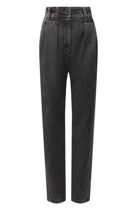 Женские джинсы BRUNELLO CUCINELLI темно-серого цвета, арт. MH188P5664 | Фото 1 (Материал внешний: Хлопок; Длина (брюки, джинсы): Стандартные; Стили: Кэжуэл; Кросс-КТ: Деним; Силуэт Ж (брюки и джинсы): Прямые)