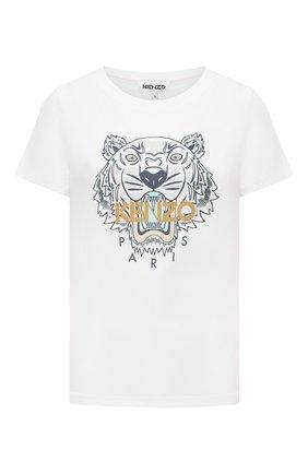 Женская хлопковая футболка KENZO белого цвета, арт. FB62TS8464YB | Фото 1 (Материал внешний: Хлопок; Стили: Спорт-шик; Принт: С принтом; Длина (для топов): Стандартные; Рукава: Короткие)